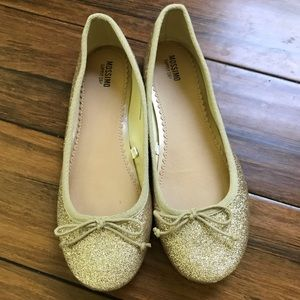 Gold glitter ballet flats from Mossimo.